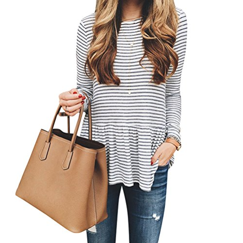 ZXZY Women Pleated Frill Hem Round Neck Long Sleeve Stripe Shirt Tops Blouse Tee