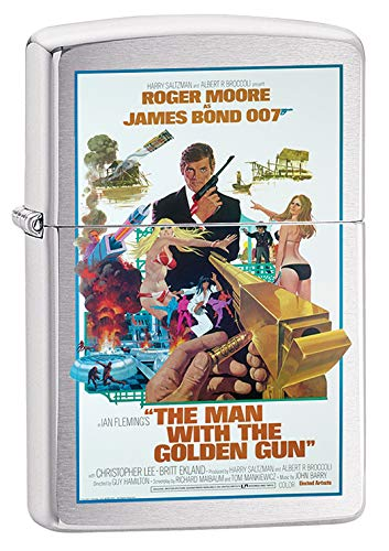 Zippo Lighter: James Bond, The Man with The Golden Gun - Brushed Chrome 79638