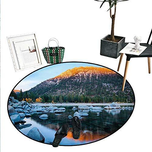 Lake Tahoe Dining Room Home Bedroom Carpet Floor Mat Rocks in a Lake Photo North American Landscape Sierra Nevada California USA Soft Area Rugs (4'2