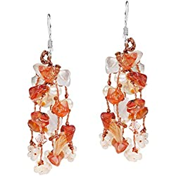 Autumn Melody Orange Carnelian, Cultured Freshwater Pearl .925 Silver Earrings