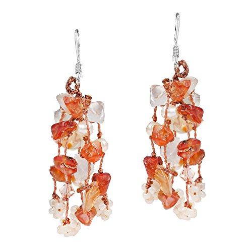 Autumn Melody Orange Carnelian, Cultured Freshwater Pearl .925 Silver Earrings