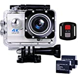 Sports Action Camera Ultra HD Waterproof DV Camcorder 4K WIFI Cam 1080P 170 Degree Wide Angle with Remote Sliver