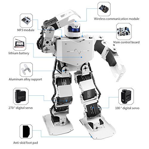 LewanSoul H3S 16DOF Biped Humanoid Robot Kit with Free APP, MP3 Module, Detailed Video Tutorial Support Sing Dance(Assembled) by LewanSoul (Image #1)