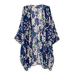 TopTie Blue Floral Printed Kimono Basic Open Cardigan Shawl Top Blouse Coat