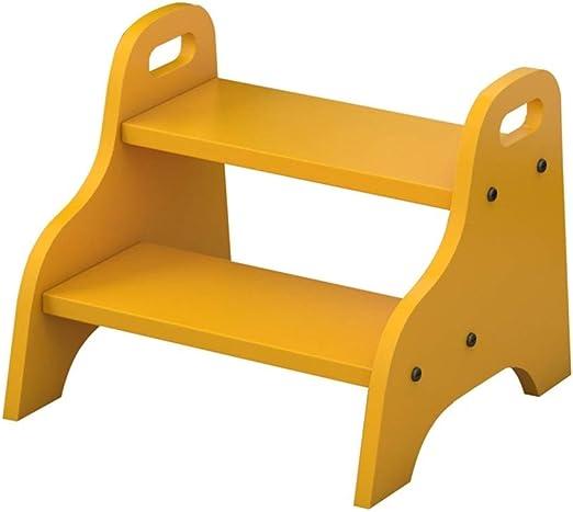 XHCfold Taburete de Escalera de 2 peldaños, Taburete de escaleras de Madera Maciza, escaleras de Cocina, taburetes de pie pequeños, Banco de Zapatos portátil/Estante de Flores, para Adultos y niños: Amazon.es: Juguetes