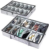storageLAB Under Bed Shoe Storage Organizer, Adjustable Dividers - Set of 2, Fits 24 Pairs Total - Underbed Storage Solution