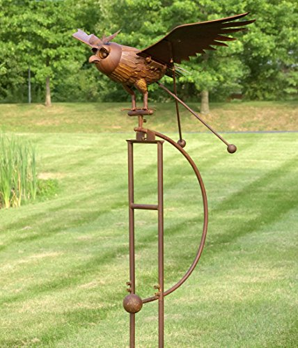 Zaer Ltd. Large Rocking Owl Garden Stake with Flapping Wings