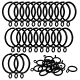 iron curtain rings - ANJUU 24 Pack 38mm Inner Diameter Metal Curtain Drape Sliding Eyelet Rings Black Tone