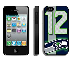 Beautiful And Unique Designed Case For iPhone 4S With Seattle Seahawks (2) Black Phone Case
