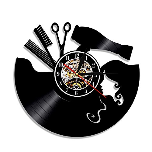 Shinestore Vintage Vinyl Record Wall Clock Hairdresser Hair