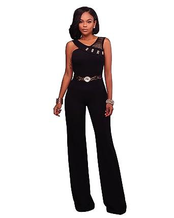 80fb2ee7ac1 VERTTEE Straight Belt Hollow Women s Jumpsuit Loose Wide Leg Jumpsuits  Rompers with Belt Black S