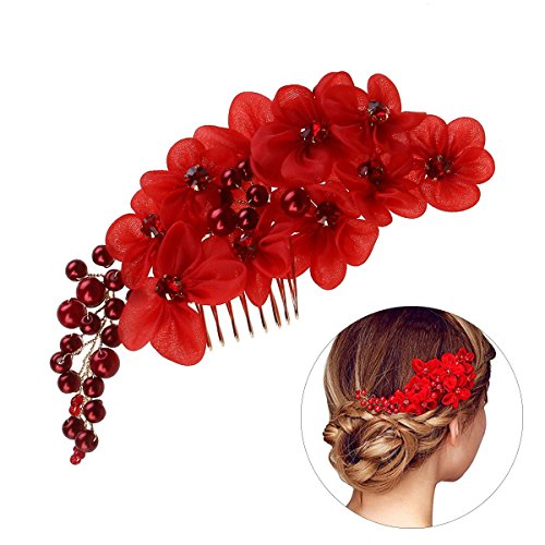 - Frcolor Wedding Flower Hair Comb Slide Clip with Pearl Rhinestone (Red)