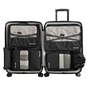 7 Sets Packing Cubes -3 Packing Cubes + 2 Pouches+ 1 Underwear Pouch + 1 Shoes Bag (Black)