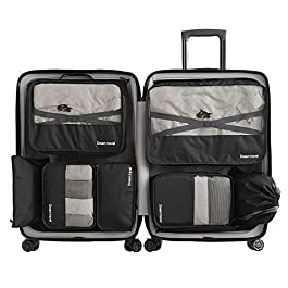 7 Sets Packing Cubes -3 Packing Cubes + 2 Pouches+ 1 Underwe...