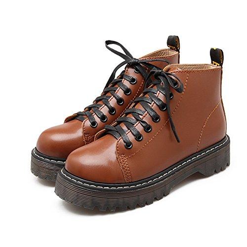 Matching Boots Thick Bottom Womens Pig Bandage AdeeSu Brown Skin Platform Heel Color xvTZUvqtw
