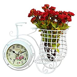 DOVANT Garden Style Bicycle Iron Desk/Shelf Clock Home Decoration Table Horloge Festival Gift White
