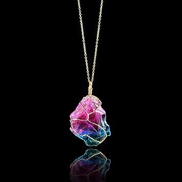 4feceb2b226a04 Gaddrt Rainbow Stone Necklace Natural Crystal Rock Gold Plated Quartz  Pendant Wonderful Gift