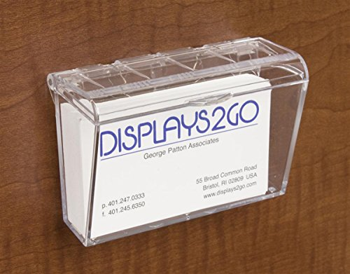 Displays2go Weather Resistant Clear Molded Acrylic Business Card Holder with Hinged Lid and Double-Sided Tape, Set of 12 (BCCODLID)