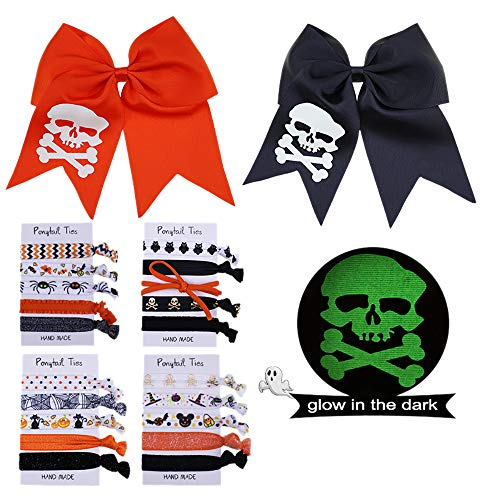 Halloween Hair Bow Ideas (Halloween Hair Ties, Halloween Hair Bow with Luminous Printing Skulls, Colorful Elastic Bands Ponytail Holder Party Hair Accessories Set for Girls (2 hair bows and 20 hair)