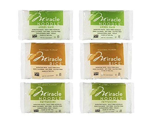 Miracle Noodle Shirataki Konjac Pasta and Rice Variety Pack, 7 oz (Pack of 6), Angel Hair, Rice, Fettucine, Zero Net Carbs, Low Calorie, Gluten Free, Soy Free, Keto ()