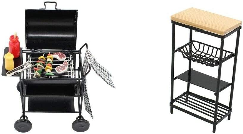 1//12 Dollhouse Miniature Metal Dishes Rack Kitchen Furniture Decoration