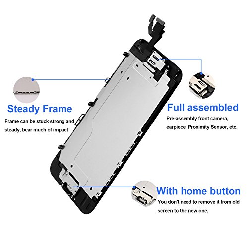 Nroech LCD Screen Replacement for iPhone 6 (Black) with Home Button, Full Assembly with Front Camera, Ear Speaker and Light/Proximity sensor, Repair Tools and Free Screen Protector Included. by Nroech (Image #2)