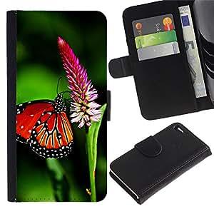 """Apple iPhone 4 / iPhone 4S , la tarjeta de Crédito Slots PU Funda de cuero Monedero caso cubierta de piel ("""" Butterfly Spring Flying Wings Green Nature"""")"""