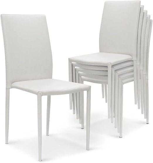 Menzzo España Pack de 6 sillas de Comedor Modan (Blanco): Amazon.es: Hogar