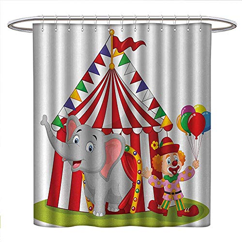 (Anniutwo Circus Shower Curtains Fabric Extra Long Cartoon Cute Elephant Standing with Clown Circus Tent Enjoyment Funfair Illustration Bathroom Set with Hooks W48 x L72 Multicolor)