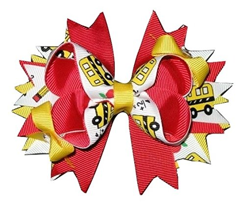 """Price comparison product image New """"SCHOOL BUS & PENCIL"""" Back to School Hairbow Alligator Clip Girls Ribbon Bow Boutique Kindergarten 1st 2nd 3rd 4th 5th Grade Apple"""