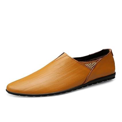 Yajie-shoes, 2018 Mocasines Zapatos para Hombre Zapatos de Cuero Genuino de los Holgazanes