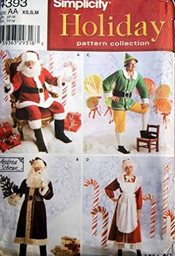 Simplicity Holiday Costume Pattern 4393 Santa Claus Elf Mrs Clauss Size L XL