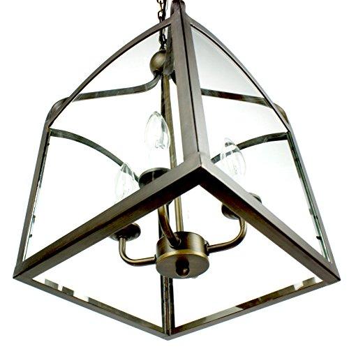 Light Fixtures Uae: 4-light Antique Bronze Glass Lantern Pendant Chandelier