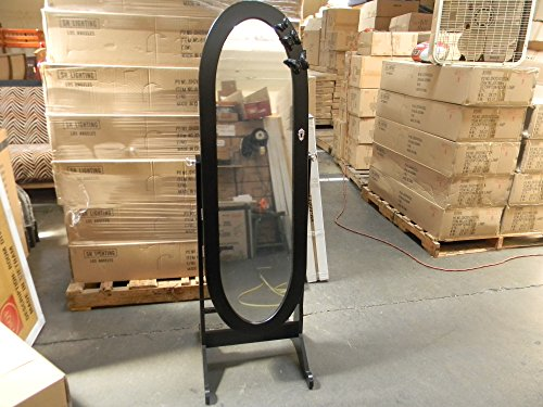 (Oval Stand Mirror Jewelry Cabinet with Butterfly - Black)