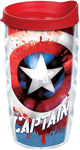 Tervis 1250037 Marvel - Captain America Tumbler with Wrap and Red Lid 10oz Wavy, Clear