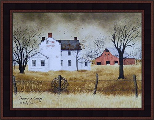 (Storm's A Coming by Billy Jacobs 15x19 Farmhouse Red Barn Country Primitive Folk Art Print Wall Décor Framed Picture)