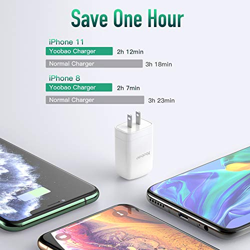 Yoobao 4 Port USB Plug Wall Charger Multi Port Phone Charger Cube Block for iPhone 11/ X/ 8, iPad Pro/Air 2/ Mini 4, Samsung Galaxy and More - White