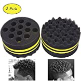 AIR TREE Hair Sponge Brush and Curl for Hair Magic Barber Twist Products Black Men Curly Hair Brushes with Small and Big Hole for Wave (2 PCS)