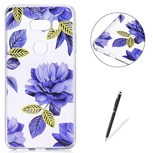 KaseHom LG V30 TPU Case Clear Crystal with [Free Touch Stylus Pen] Funny Anime Design Ultra Slim Soft Rubber Shock-Absorption Bumper Cover Shell for LG V30 - Blue Flowers ()