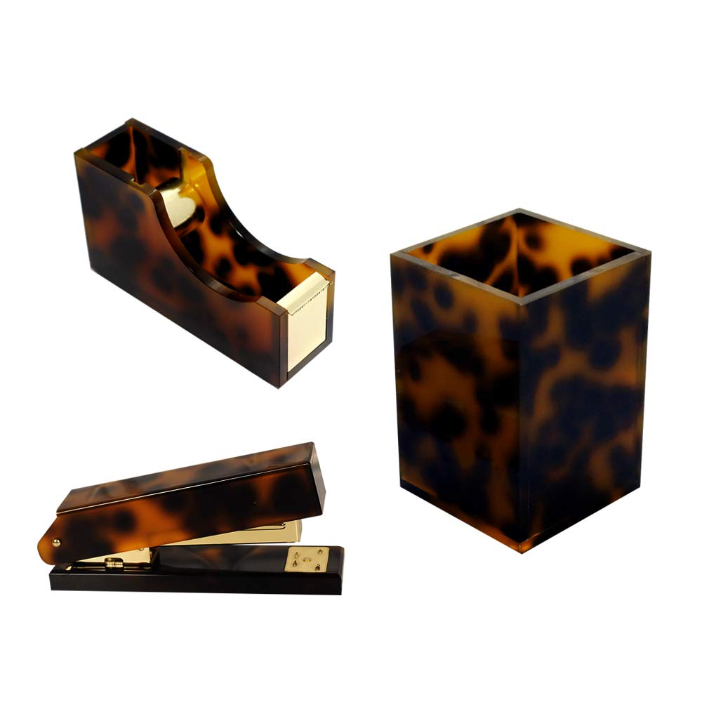Multibey 5 in 1 Amber Office Supplies Desktop Organization Set, Tortoise Desk Organizers Home Workspace Stationery Accessories Collection Pen Holder Cup, Stapler, Adhesive Tape Dispenser by MultiBey