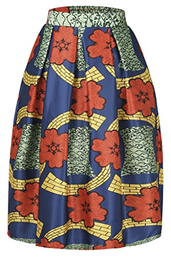 Stretch Taffeta Skirt (AnnFlat Women's African Print Knee Length Flare Skirts With Pockets Medium Multi1)