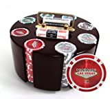 200 14 Gram Las Vegas Poker Chips & Wooden Carousel Set