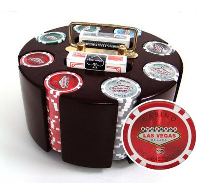 200 14 Gram Las Vegas Poker Chips & Wooden Carousel Set ()