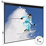 KUPPET 100 16:9HD Electric Projector Screen With Pull Down Swich Home Theater TV Motorized Wall Mounted Projection Screen, Matte White