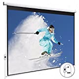 KUPPET 100'' 16:9HD Electric Projector Screen with Pull Down Swich-TV Motorized Wall Mounted Projection Screen for Home Theater-Matte White