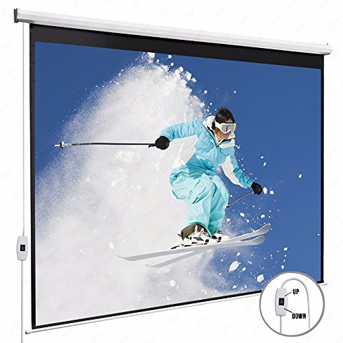 KUPPET 100'' 16:9HD Electric Projector Screen with Pull Down Swich-TV Motorized Wall Mounted Projection Screen for Home Theater-Matte White by KUPPET