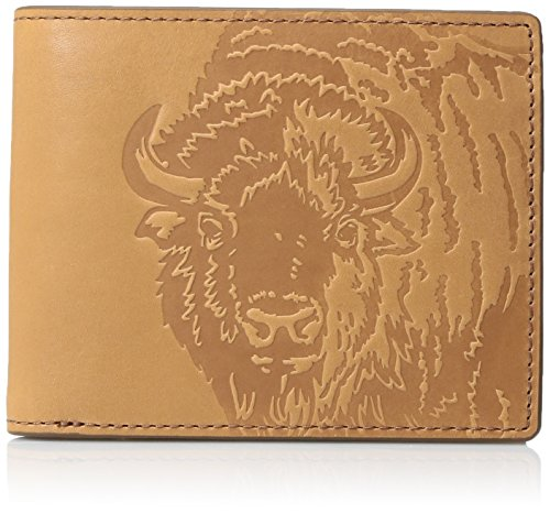 Fossil Embossed Wallet - Fossil Men's Luke Embossed Bison Leather Rfid Blocking Bifold Wallet, Saddle, One Size