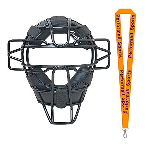 Champion Sports Baseball Ultra Lightweight Youth Catcher's Mask Black Bundle with 1 Performall Lanyard BM4LW-1P ()