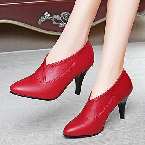 AJUNR-Zapatos De Mujer De Moda Zapatos De Boda 8Cm Bien Con Zapatos De Mujer Punta Fina Con Zapatos De Mujer Zapatos High-Heel Inglaterra El Pie Ol El Trabajo Profesional Zapatos De Mujer Rojo 38 39