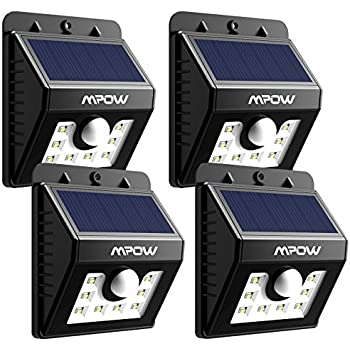Mpow Solar Lights, 4-Pack 8 LED Bright Solar Powered Security Lights with Motion Sensor Wireless Waterproof Wall Lights for Outdoor Diveway Patio Garden Path Yard Deck